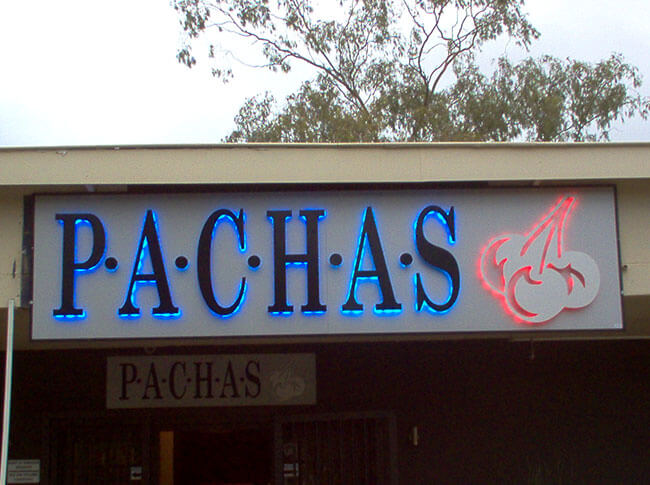 Pachas Backlit Lettering